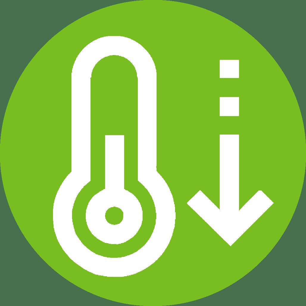 Icoon temperatuurverlagend of koelend. De systemen van Reldair werken koelend.