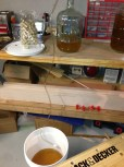 Blending the two separate carboys of Battlecat Mead
