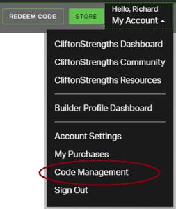 strengthsfinder code management Gallup strengths center Cascade