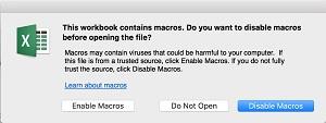 Enable Macros Mac Cascade Excel spreadsheet