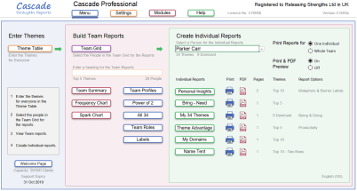 Cascade strengths Home page menu