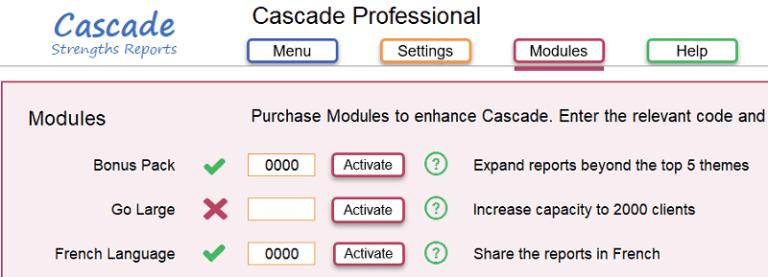 Cascade add French language reports