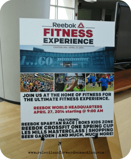 Reebok Fitness Experience sign