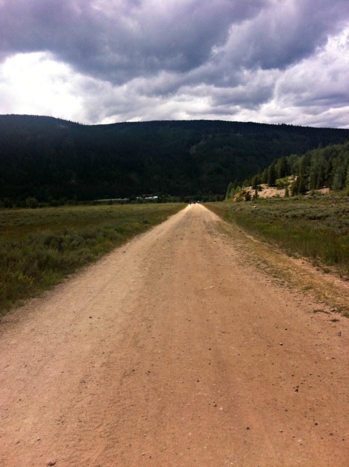 long dirt road into camp hale