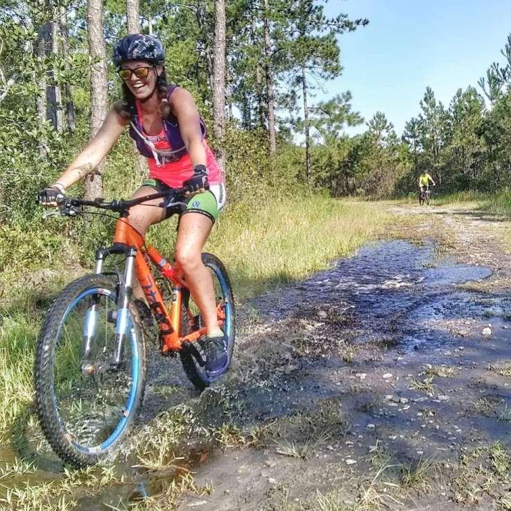 Heather rides a bike