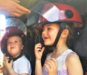 The girls in the fire engine