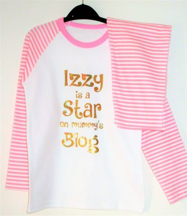 Izzy is a star on mummy's blog pyjamas