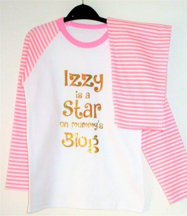Izzy is a star on mummy's blog pyjamas