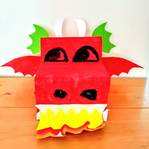 Izzy's Red Cardboard Box Dragon.