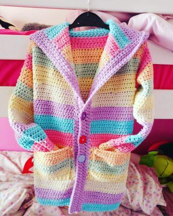 Crochet cardigan using Drops Paris