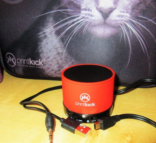 Printkick branded portable Bluetooth speaker