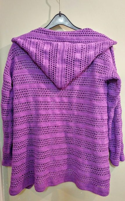 Back of Purple Crocheted Summer Cardigan
