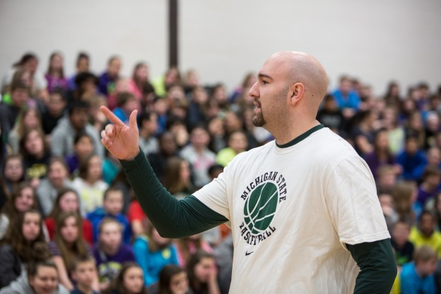 Anthony speaks at Armstrong Middle School