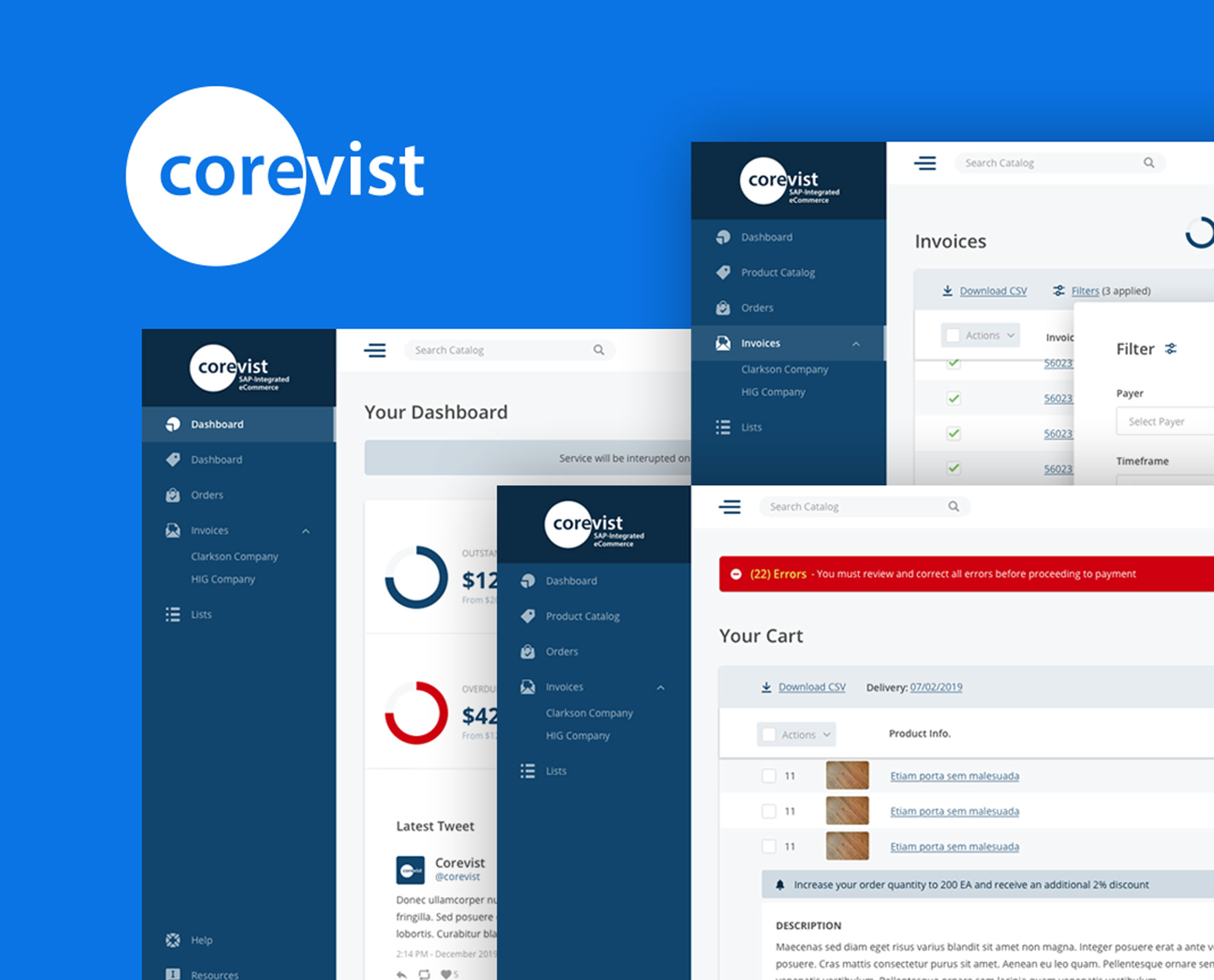 Screen captures of the new Corevist design system
