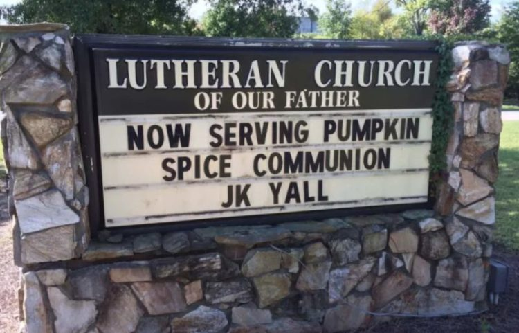 Pumpkin Spice Has Now Infiltrated Church Signs
