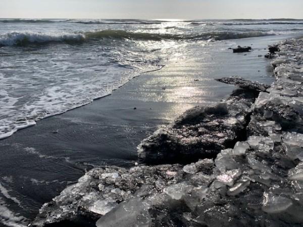 海岸に打ち上げられた氷