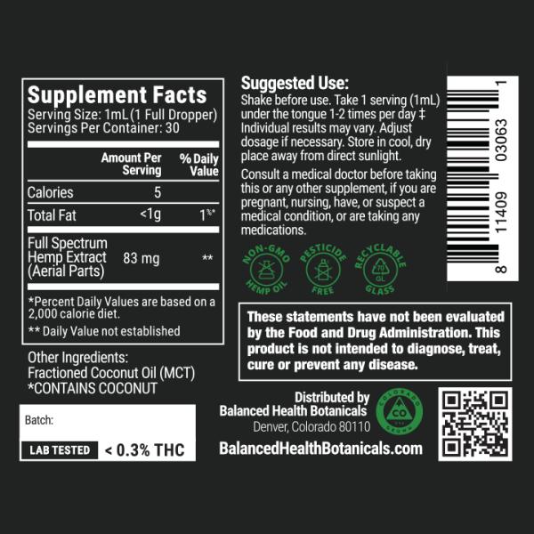 cbdistillery-2500-full-spectrum-oil-supplement-facts