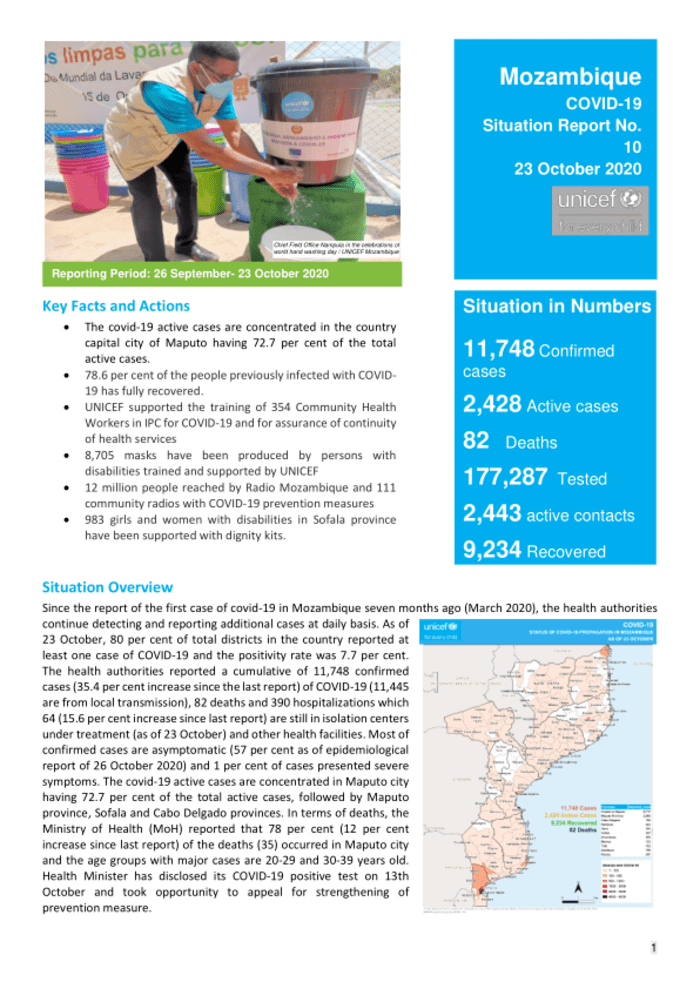 Unicef Mozambique Covid 19 Situation Report No 10 26 September 23 October 2020 Mozambique Reliefweb