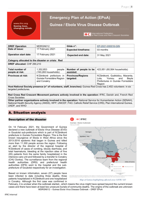Guinea: Ebola Outbreak Action Plan (EPoA) DREF Operation no.  MDRGN012 – Guinea