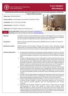 Mozambique Project Highlights Livelihood And Nutrition Sensitive Agricultural Support For The Most Vulnerable Populations Affected By Tropical Cyclone Kenneth Osro Moz 906 Uk Mozambique Reliefweb