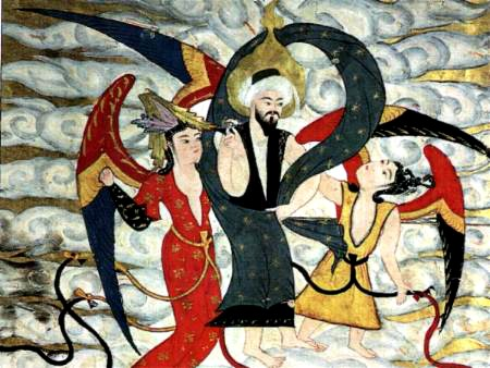 Muhammad i himmelen. Tyrkisk 1700-tallet. Topakimuseet i Istanbul. Wikimedia Commons.