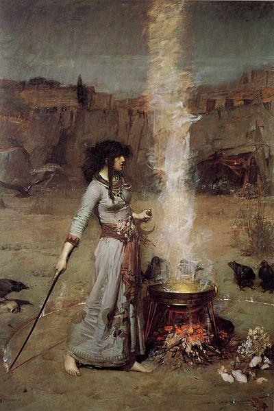 Slik forestilte John William Waterhouse seg en heks. Illustrasjon: Wikimedia Commons.