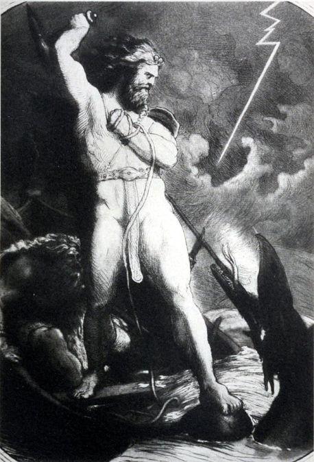Tor kjemper mot Midgardsormen av Lorenz Frølich - Wikimedia Commons.