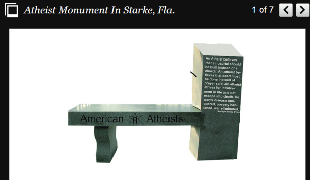 Ateistmonument i Florida. Digitalfaksimile fra Huffington Post.