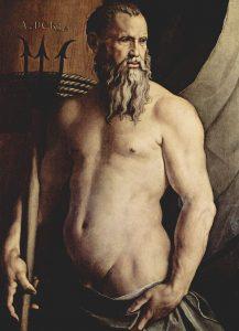 Poseidon har greie på fisk og klarer seg godt. Av Angelo Bronzino - Wikimedia Commons