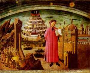 Domenico di Michelino Dante and His Poem (1465) fresco, in the dome of the church of Santa Maria del Fiore in Florence (Florence's cathedral). Dante Alighieri is shown holding a copy of his epic poem The Divine Comedy. He is pointing to a procession of sinners being lead down to the circles of Hell on the left. Behind him are the seven terraces of Purgatory, with Adam and Eve representing Earthly Paradise on top. Above them, the sun and the moon represent Heavenly Paradise, whilst on the right is Dante's home city of Florence. The illustration of Florence is self referencial, depicting the recently completed and much celebrated cathedral dome inside which the fresco is painted.