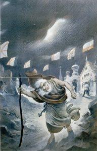 Den vandrende jøde som en analogi på det jødiske folket, blir fornektet av jordens folk, symbolisert med ulike flagg. Litografi fra 1901 basert på en tegning fra 1800-tallet av Joseph Ferdinand Keppler. Kilde: Wikimedia Commons.