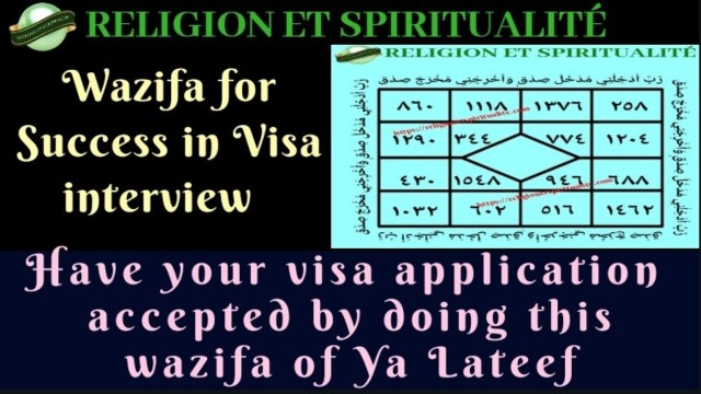 YA LATEEF WAZIFA FOR SUCCESS IN VISA INTERVIEW
