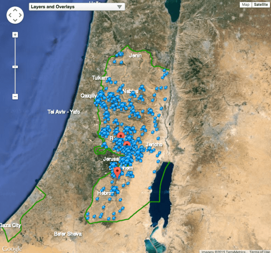 See this interactive map of Israeli settlements in occupied     Screen shot of Americans for Peace Now  Facts on the Ground  map of  settlements