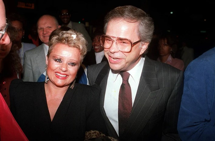 Jim and Tammy Faye Bakker enjoy a night on the town on Oct. 24, 1987 as they arrive at the Beverly Theatre to see the show