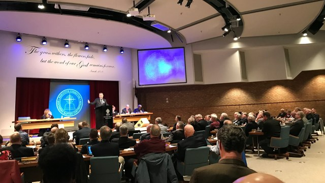 Southern Baptist Convention President J.D. Greear addresses the denomination's Executive Committee in Nashville, Tennessee, on February 18, 2019. RNS photo by Bob Smietana