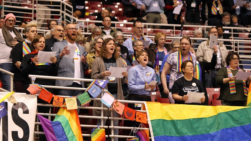 LGBTQ advocates react to the Traditional Plan being adopted at the UMC General Conference on Feb. 26, 2019, in St. Louis. RNS photo by Kit Doyle