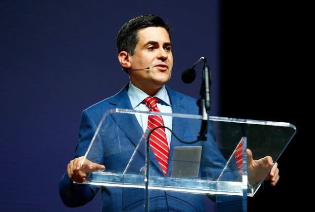 Russell Moore, president of the Southern Baptist Convention's Ethics and Religious Liberty Commission, speaks June 12, 2019, during the annual meeting of the Southern Baptist Convention at the Birmingham-Jefferson Convention Complex in Birmingham, Alabama. RNS photo by Butch Dill