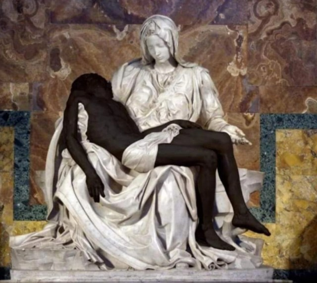 A depiction of the Pietà sculpture by Michelangelo with Jesus as Black. Image via Twitter/@PontAcadLife