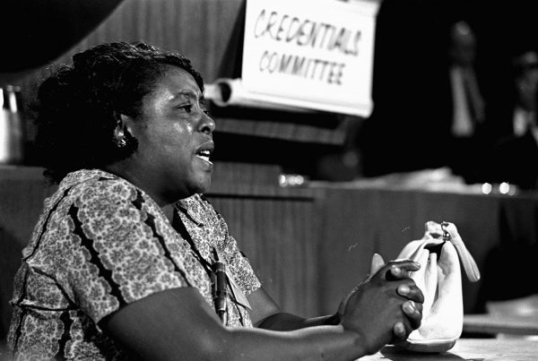 In this Aug. 22, 1964, photograph, Fannie Lou Hamer, a leader of the Freedom Democratic party, speaks before the credentials committee of the Democratic National Convention in Atlantic City, in efforts to win accreditation for the largely African American group as Mississippi's delegation to the convention, instead of the all-white state delegation. (AP Photo/File)