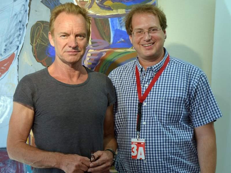 Artist Sting, left, and author Evyatar Marienberg in 2017. Courtesy photo