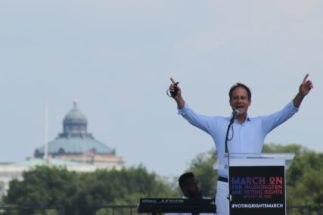 Rabbi Jonah Pesner, director of the Religious Action Center of Reform Judaism, speaks at March On for Voting Rights rally on August 28, 2021. RNS photo by Adelle M. Banks