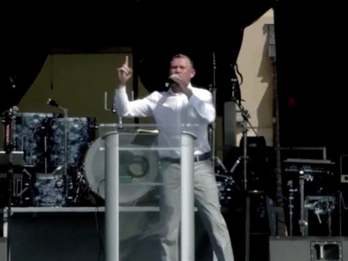Pastor Greg Locke addresses the Bards Fest crowd in St. Louis. Video screengrab