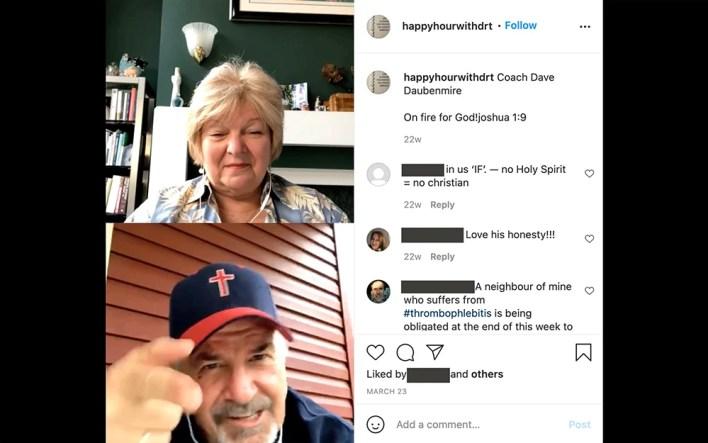 """Coach"" Dave Daubenmire, bottom, appears on Dr. Sherri Tenpenny's Instagram live program"