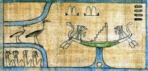 3.To hegrer og solbåt med himmeltrapp i Nilflommen. Fra dødebokens kapittel 110. Etter British Museum EA 10472.