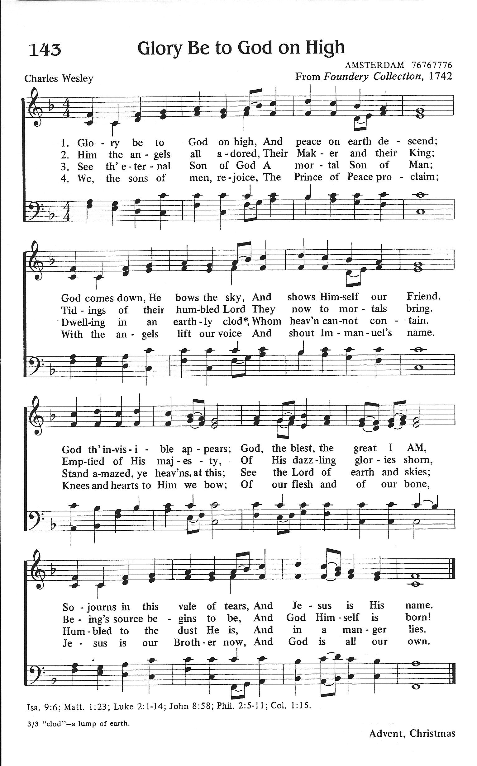 """Glory Be to God on High"" by Charles Wesley"