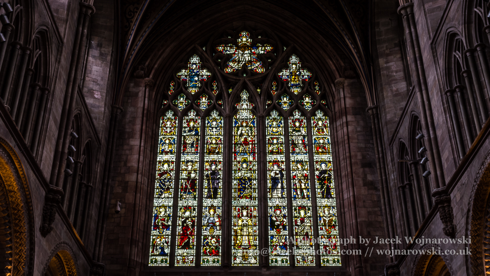 Hereford Cathedral inside Nave Stained Glass, captured at Hereford, England, UK