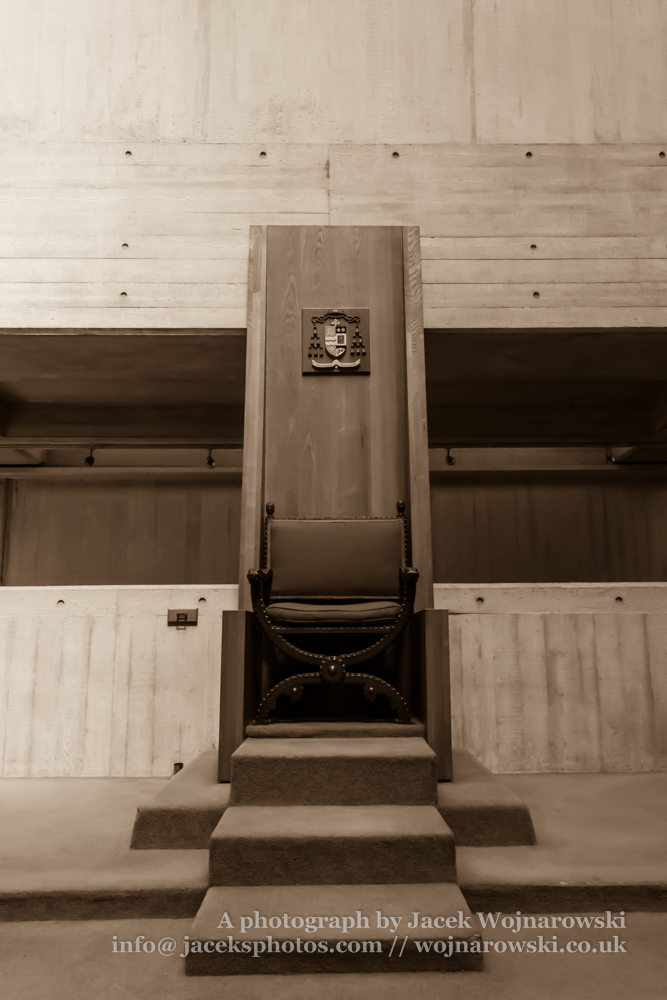 Clifton Cathedral priest chair, Bristol, England, UK, sepia tone
