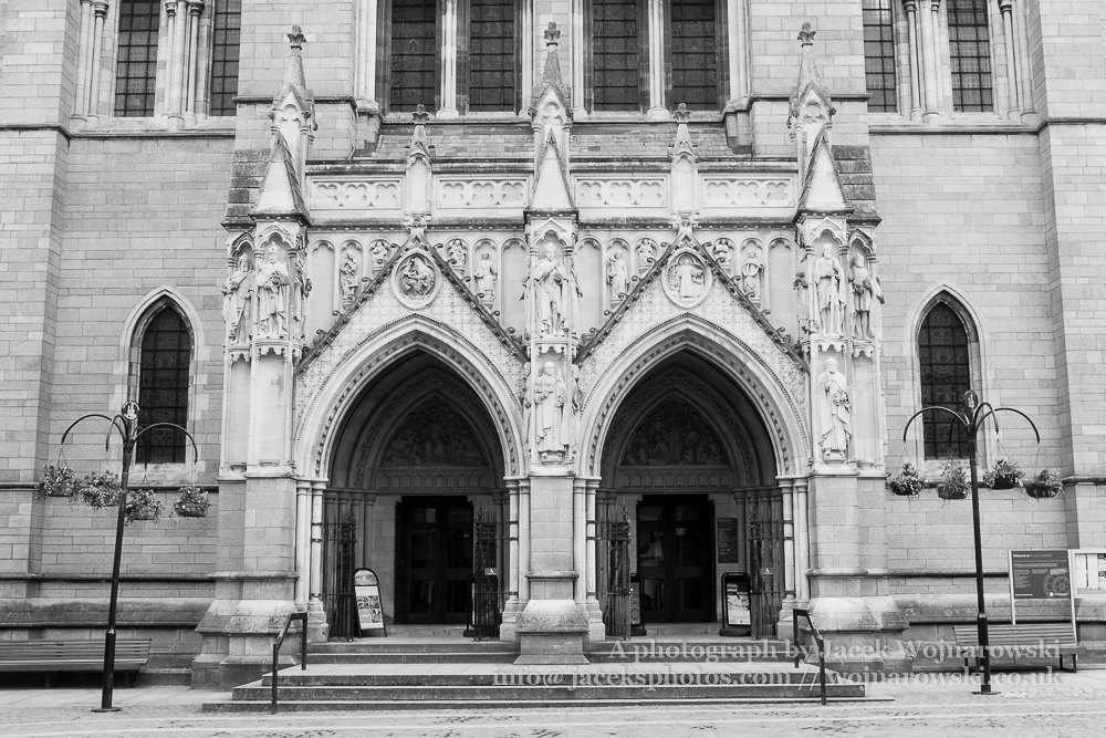 Truro Cathedral Entrance, Victorian architecture, black and white photography