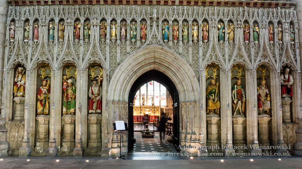 Screen featuring Kings of England in Ripon Cathedral