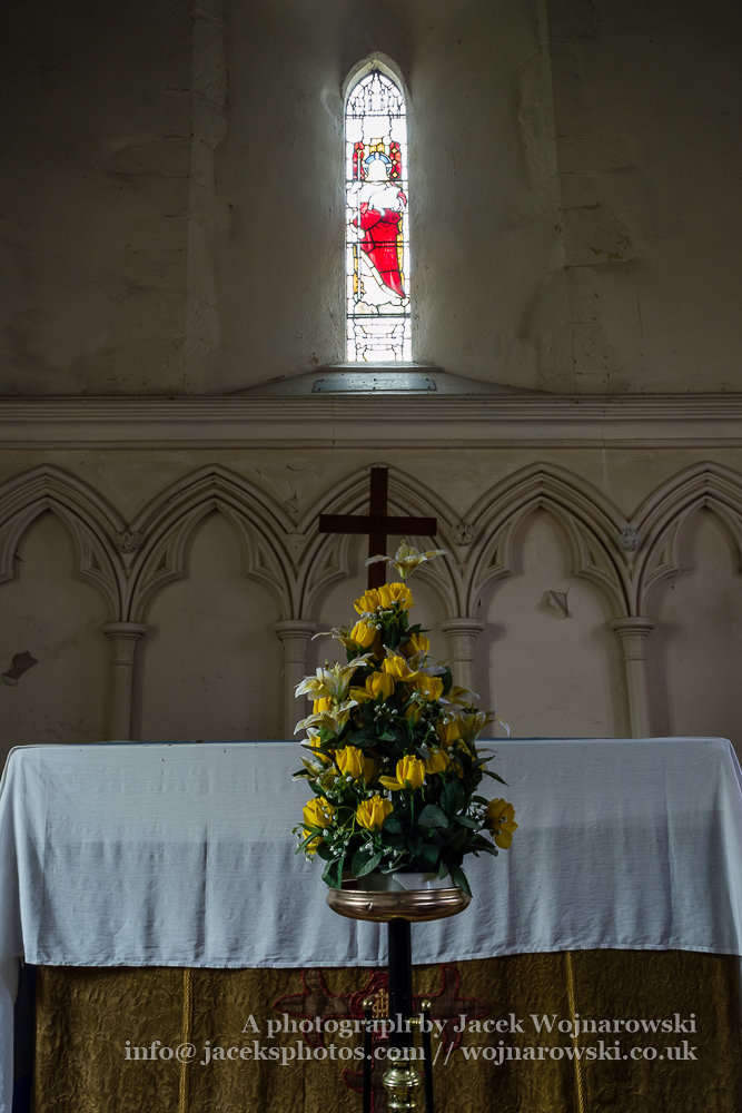 Brookthorpe, St Swithun, 13th-century church with Victorian additions - altar